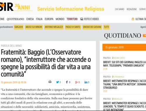 """Fraternità: Baggio (L'Osservatore romano), """"interruttore che accende o spegne la possibilità di dar vita ad una comunità"""""""