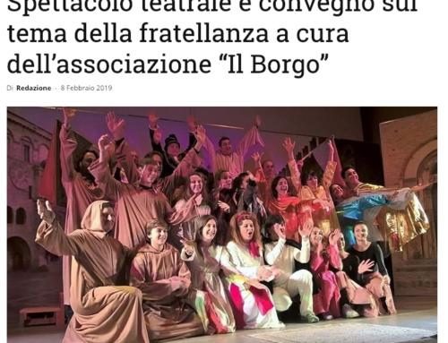 """Spettacolo teatrale e convegno sul tema della fratellanza a cura dell'associazione """"Il Borgo"""""""