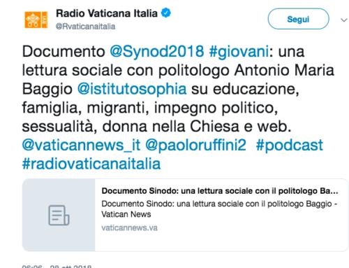 Documento Sinodo: una lettura sociale con politologo Antonio Maria Baggio, Radio Vaticana